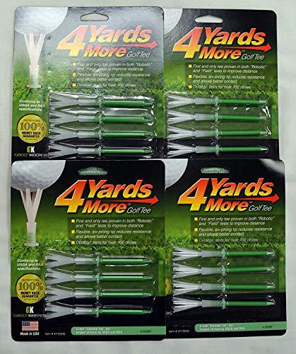 "4 Yards More Golf Tees 4"" - Green - 4 Packs of 4 - (11926)"