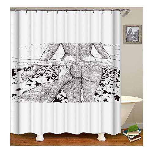 Gnzoe Polyester Duschvorhang Sexy Mädchen Muster Design Bad Vorhang Mehrfarbig für Badezimmer/Badewanne 150X180CM