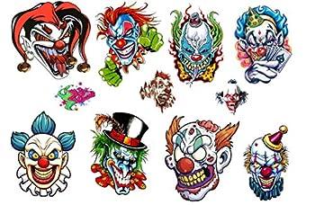 Clown Collection  Evil Clown Temporary Tattoos