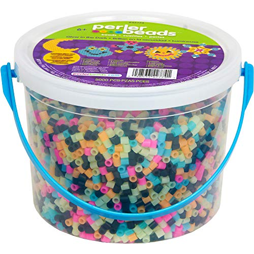 Price comparison product image Perler Beads Glow in The Dark Multicolor Fuse Bead Bucket,  5005 pcs