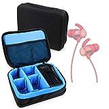 DURAGADGET Bolsa Acolchada Profesional Negra con Compartimentos e Interior en Azul clarito Compatible con Auriculares SoundPEATS TKQ30RD, Philips SHB5250BK