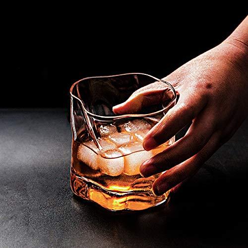 Juego de 6 vasos de whisky irregular con forma de espiral, cristal ondulado para whisky brandy, cerveza, cena en casa, fiesta, club, bar, 250 ml, regalo de cumpleaños para hombres