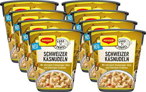 Maggi Food Travel Cup Schweizer Käsnudeln mit würzigem Emmentaler-Käse und knackigen Croûtons, 8er Pack (8 x 71g)