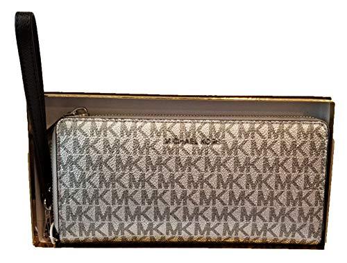 Michael Kors Handgelenk-Tasche für Damen, Geldbörse, Reise, Logo (Silber/Schwarz)