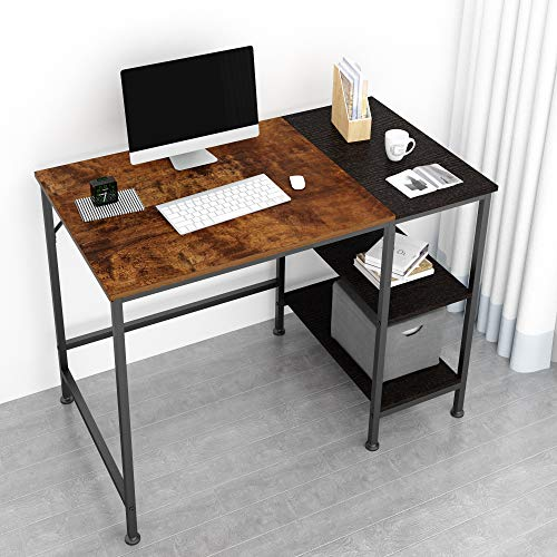 JOISCOPE Computer Desk with Shelves,Laptop Table with Wooden Drawer,40 inches(Vintage Oak Finish)