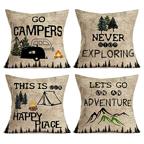 Just1421on Pack of 4 Vintage Camping Pillow Covers Outdoor Decor RV Car Happy Camper Travel Quotes Cotton Linen Throw Pillow Case Cushion Cover with Rustic Map Background, 18x18 Inches