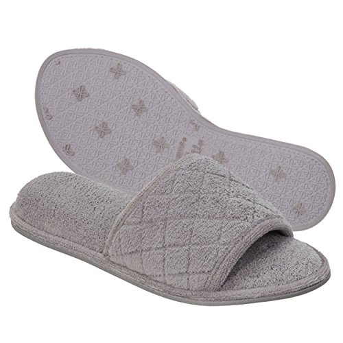 Dearfoams Indoor/Outdoor Women's Terrycloth Slide Slipper - Comfortable, Cushioned Slippers With Open-Toed Quilted Design, Black