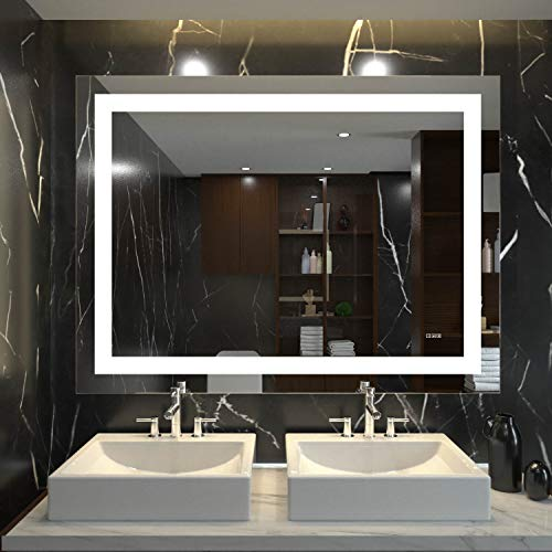HAUSCHEN 36x48 inch LED Bathroom Large Wall Mounted Makeup Vanity Mirror with CRI 95 Adjustable Light, Anti Fog, Memory Dimming Function, IP44 Waterproof, Vertical & Horizontal