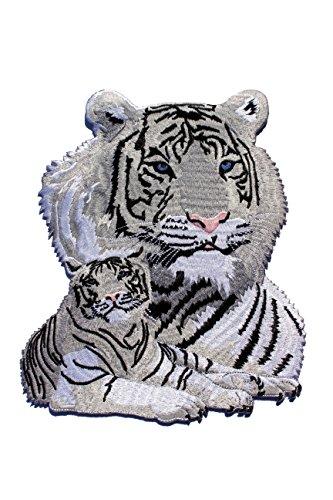 Give-a-way XXL Aufnäher Patch (Aufbügler) von Einem weißen Königstiger 22,5 x 17 cm