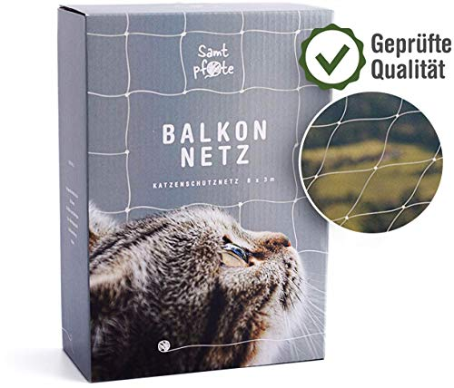 Fluwelen poot Premium kattennet voor ramen en balkon - extra groot 8x3m kattenbeschermingsnet - balkonnet beetvast
