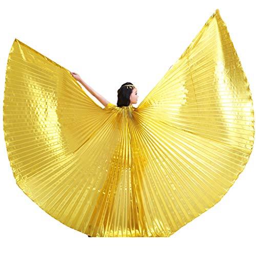 Baisdan Isis Flügel Ägyptische Bauchtanz Karneval Kostüm Isis Flügel mit Stäbchen, Gold, 360 Degree
