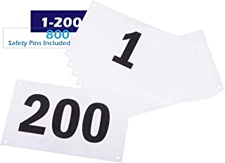 Azarxis Running Bib Competitor Numbers with Safety Pins, Running Numbers 1-100 or 1-200, Tyvek Tearproof & Waterproof 4 x 7 Inches for Marathon Races and Events