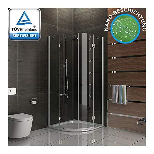 SENSO kwartcirkel douchecabine 100x100x195 cm 2-deurs met antikalk | Easy Clean douche met nano-coating | douchewand van veiligheidsglas ESG lotus-effect
