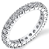 Peora Lab Grown Diamond 1 Carat Total Eternity Ring in 14K White Gold, Round Shape, E-F Co...