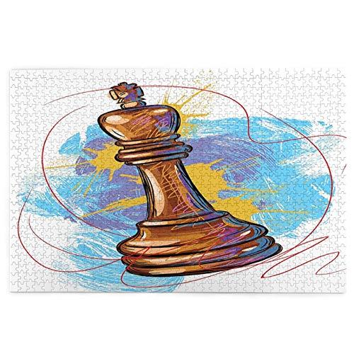 Airmark Rompecabezas de 1000 Piezas,Rompecabezas de imágenes,Rey de ajedrez Blanco,Juguetes Puzzle for Adultos niños Interesante Juego Juguete Decoración para El Hogar