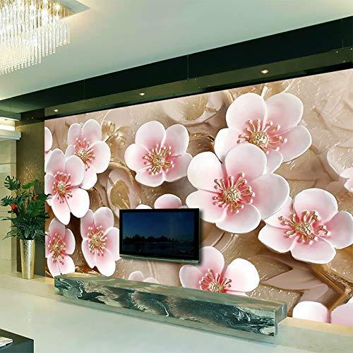 Custom Bedroom Mural Wallpaper TV Background 3D Relief Pink Flowers Room Landscape Home Deocr