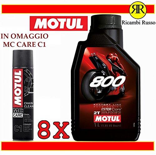 Motul 800 2T - Aceite de motor para moto de 2 tiempos, 8 litros + regalo MC Care C1 Chain Clean