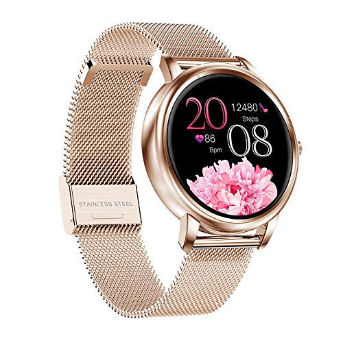 Fashion Smart Watch for Women Lady with Step Calorie Counter Heart Rate Blood Pressure Oxygen Monitor Smartwatch Call and Text Reminder Fitness Tracker Smart Band Bracelet, Custom Watch Face (Gold)