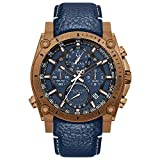 Bulova Men's Stainless Steel Quartz Sport Watch with Leather Calfskin Strap, Blue, 24 (Model: 97B186)