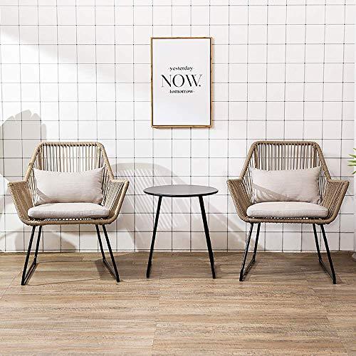 Conversación al Aire Libre Muebles Modernos, 3 Pieza Rota Patio de Muebles, la Mesa Auxiliar y sillas al Aire Libre, Incluyendo Cojín Gris, for el Dormitorio/jardín/terraza/Piscina WKY