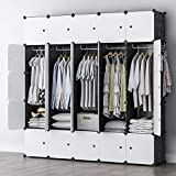 GEORGE&DANIS Portable Closet Wardrobe Cube Storage Cube Organizer Cube Shelf Armoire Bedroom Dresser Pantry Cabinet (71x18x71 inches) 5x5 Tiers, Black