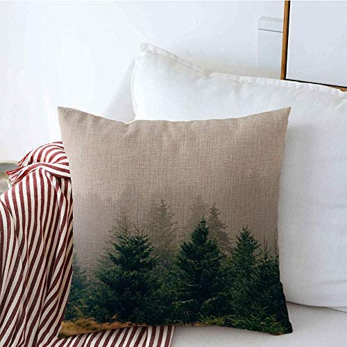 decorative throw pillow covers valley rising transylvania mist foggy shadow weather pine forest trees nature parks outdoor range linen square pillow