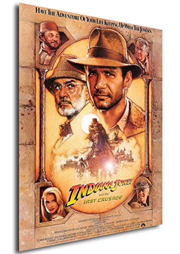 Poster Indiana Jones and The Last Crusade (Indiana Jones y la última Cruzada) Vintage Movie Poster - A3 (42x30 cm)