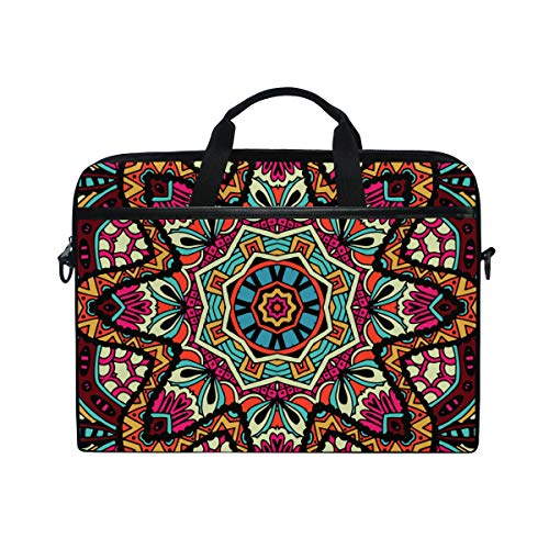 EZIOLY Geometric Tribal Ethnic Floral Laptop Shoulder Messenger Bag Case Sleeve for 13 Inch to 14 inch Laptop