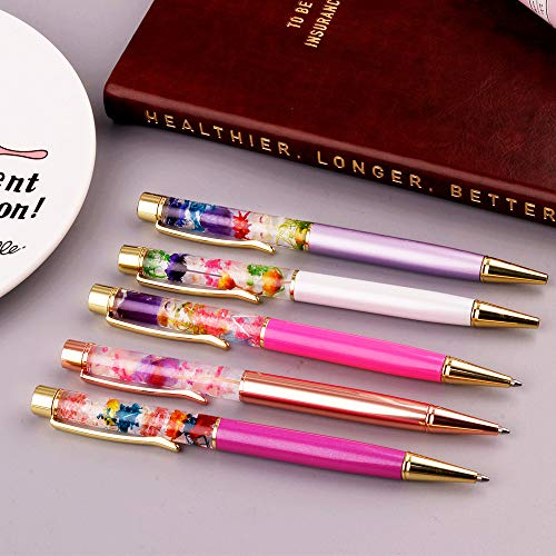 Ballpoint Pens, 5 Pieces Rose Gold/White/Purple/Rose Red/Dark Purple Metal Ball Pen refillable Refills Black Ink Herbarium Floral Pens for Office Supplies Photo #6