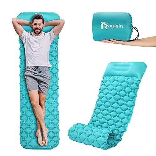 Rayisin Isomatte Ultraleichte Schlafmatte Aufblasbare Luftmatratze Outdoor Matratze mit Fußpresse Pumpe Campingmatratze Selbstaufblasbare Matte für Camping, Trekking und Backpacking