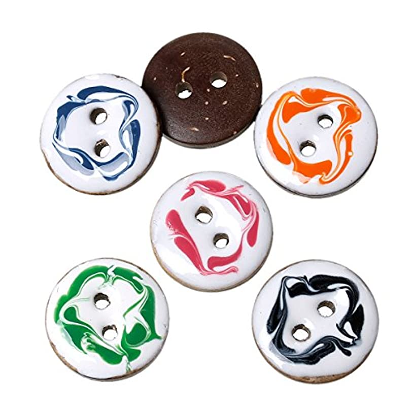 PEPPERLONELY Brand 40PC Brown Mixed Handmade Enamel Coconut Shell Buttons 2 Hole Scrapbooking Sewing Buttons 15mm(5/8 Inch)