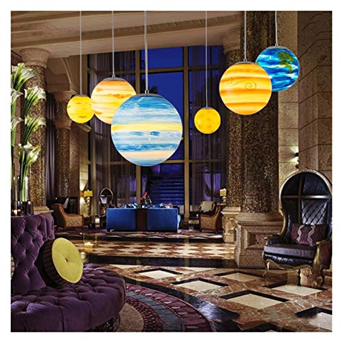 JSJJAYH Araña de Techo Nueve Planetas Sistema Solar Planeta Planeta Lámparas de jardín de Infancia al Aire Libre Lámparas de la Tierra Creativa Aula Casa de Compras Iluminación luz