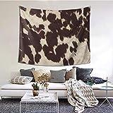Tapiz de piel de vaca marrón para colgar en la pared y decoración del hogar para dormitorio, sala de estar, decoración de dormitorio (60 x 51 pulgadas)