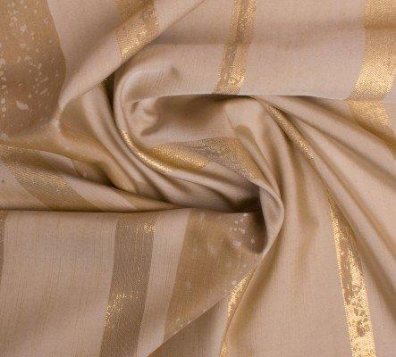 Mixibaby Übergardinenstoff in Dunkelem Cream - Gold Ton mit Breiten Goldenen Streifen