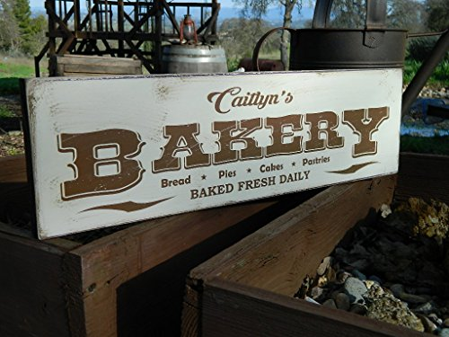 rustic rhetoric signs Man Cave Country Primitive Distressed Wood Print Sign 5.5' x 19' Your Name Bakery Sign