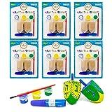 Craft-A-Dreidel, Create Your Own Custom Dreidel, Kit Includes 2 Wooden Dreidels, 3 Colors, 1 Brush, 1 Glitter - Fun and Educational (6-Pack)