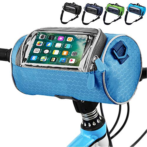 MOXIU Bike Handlebar Bag Waterproof Front Bag Bicycle Storage Bag with Removable Shoulder Strap and 6 inch Transparent Pouch (Blue)
