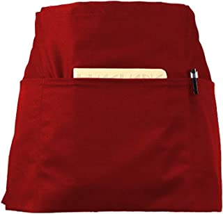 CLOCOR 1 Pack Server Apron with 3 Pockets – Red Waist Apron, 65% Poly / 35% Cotton, Half Home Kitchen Apron for Cooking Cleaning, 24 X 12 inch for Holding Server Book Guest Check Card Holder
