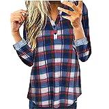 Blusa de manga larga para mujer, de algodón, a cuadros, con botones, ajustada, para mujer, azul oscuro, XL