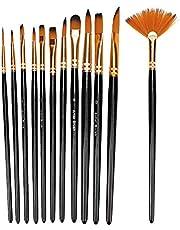 12 stks hoge kwaliteit zwart nylon haar aquarel tekening borstel kunstenaar ronde penselen set zwart houten paal nylon haar kwast set art schilderen set