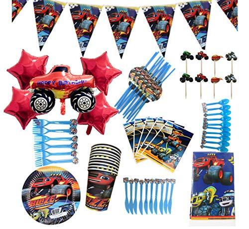 SZLGPJ Cumpleaños de la Gente desechable Dibujos Animados Blaze y máquinas Fiesta decoración desechable niño servilleta Taza Fiesta Suministros 110pcs