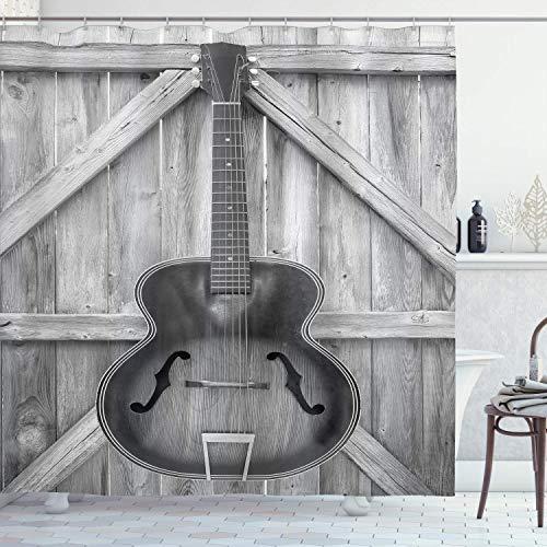 Caiq Western douchegordijn, akoestisch instrument, vintage gitaar, hangend aan hekken van hout, veranda, Country Ranch, stof, badkamerdecoratie met haken