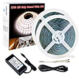 SPARKE SMD5730/5630 LED Strips Light,16.4feet X 2 Rolls 600LEDs Natural/Pure White 4500K Waterproof Flexible LED Tape Light with UL Listed 12V Power Supply