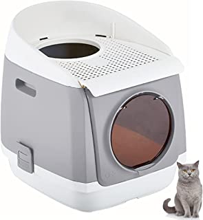 Gluckluz Cat Litter Box Folding Top Entry Kitten Toilet Box Semi Closed Large Cat Potty Training with Scoop for Cats Kitte...
