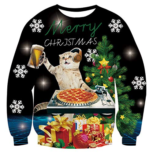 uideazone Unisex Pullover Weihnachtspulli Ugly Weihnachtspullover Pulli 3D Gedruck Muster Rundhals Langarmshirt