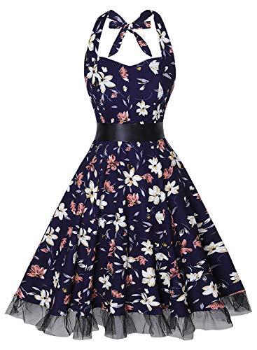 oten Women's Vintage Halter Dress 1950s Floral Sping Retro Rockabilly Cocktail Swing Tea Dresses