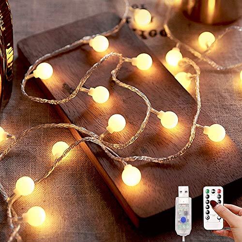 小さなボールLEDライト 13m*100球 LEDイルミネーションライト【リモコン付属】8種点灯モード LEDストリングスライト クリスマス/結婚式/誕生日/パーティー/学園祭/庭/広場/街路樹装飾 USB式