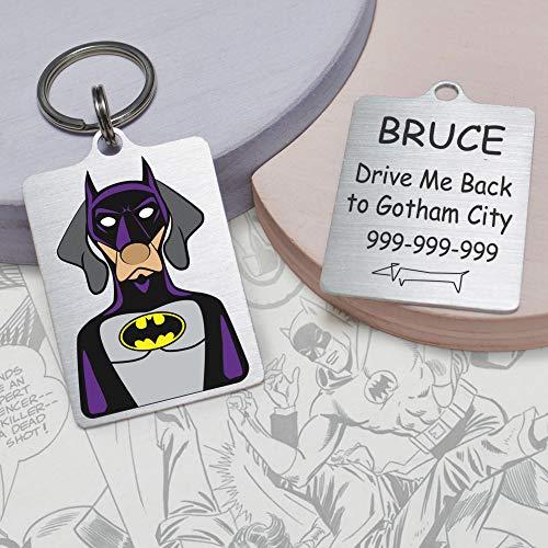 Snout Fashion Batdog, Placa de identificación para Perros de Acero Inoxidable, Bat Man en el Mundo de los Perros, Personalizable, 40x30(mm)