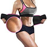 Pink Waist Trimmer Belt by 10xSWEAT - Weight Loss Wrap - Stomach Fat Burner - Low Back and Lumbar...