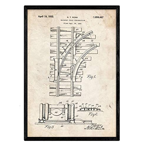 Nacnic Poster con Patente de Via de Tren. Lámina con diseñ